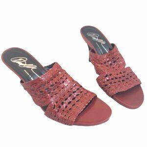 DONALD J PLINER Alita Red Leather Heel Sandal 8N